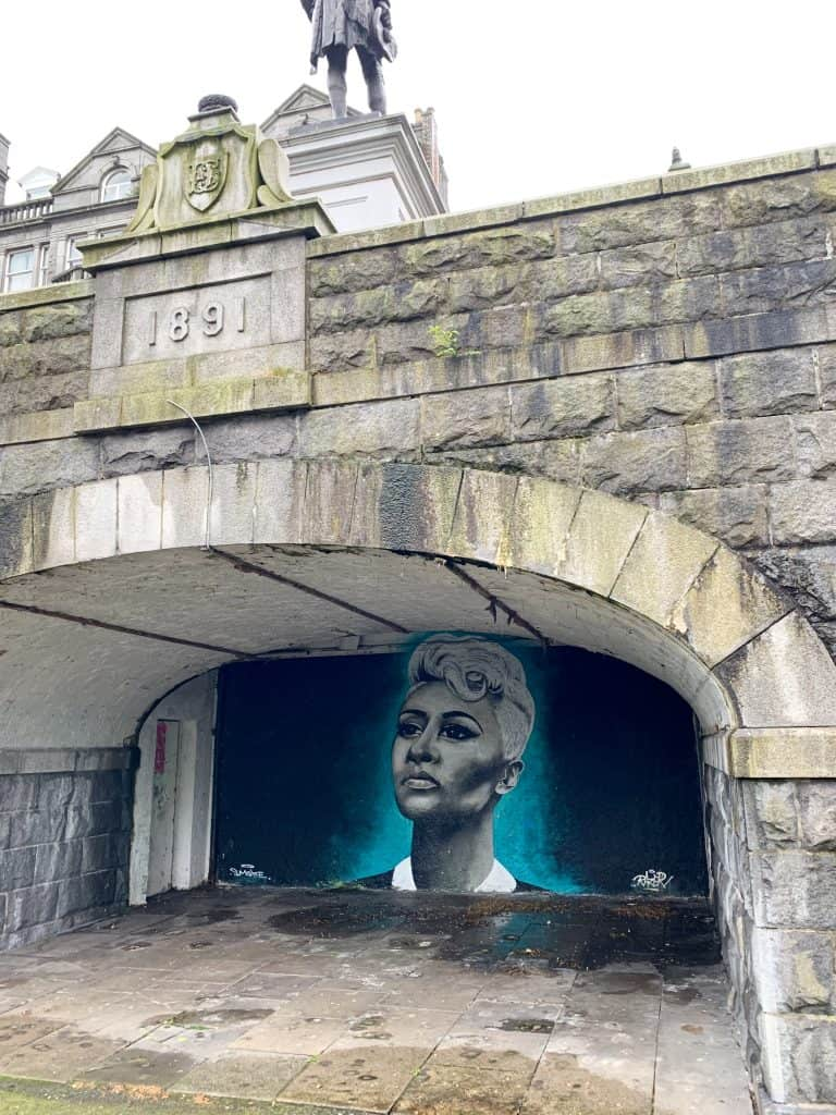 Juxtaposition of old & new in Aberdeen, street art in Union Terrace Gardens
