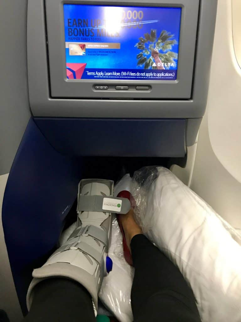Enjoying a lie-flat seat in Delta business class internationally