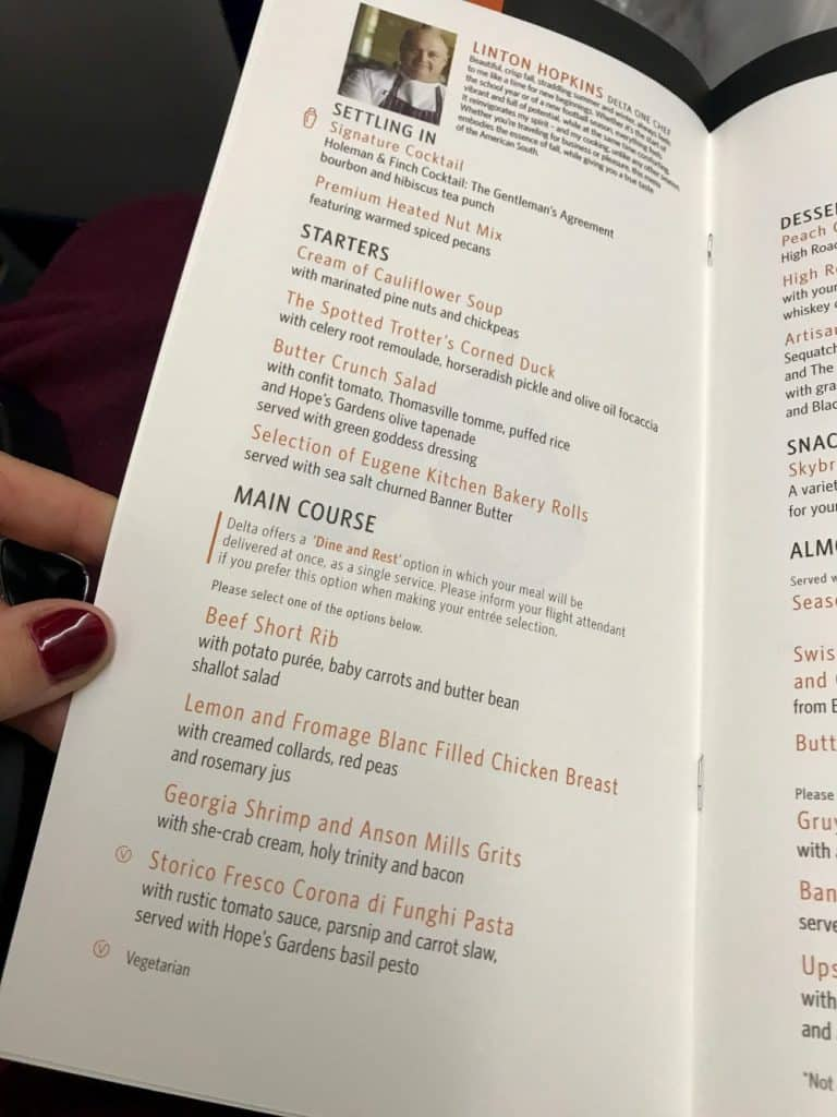 The Atlanta-themed menu on Delta One business class