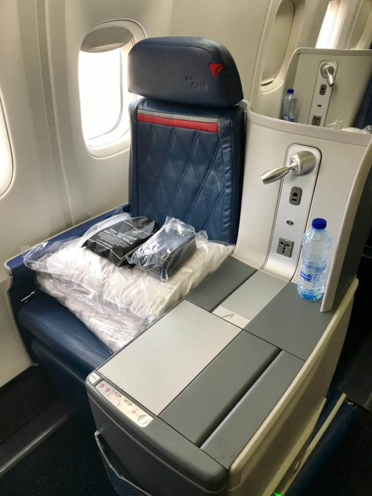 A big comfy lie-flat seat in Delta business class
