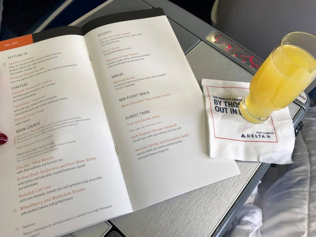 Menu on Delta business class London to Atlanta