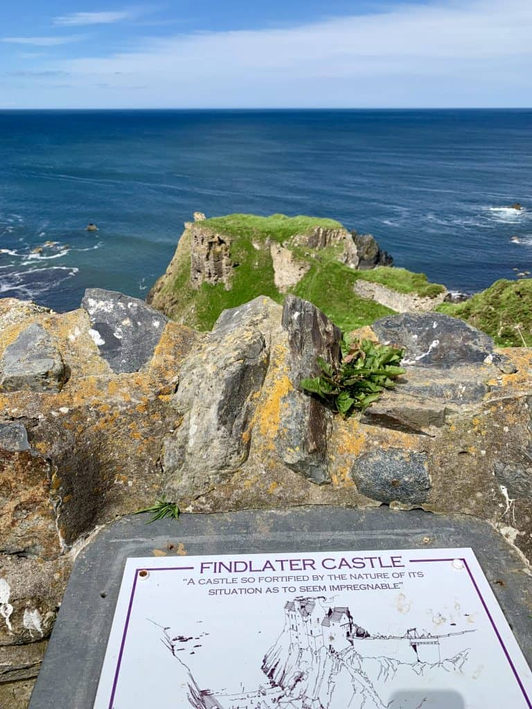 Findlater Castle Scotland - plaque of information