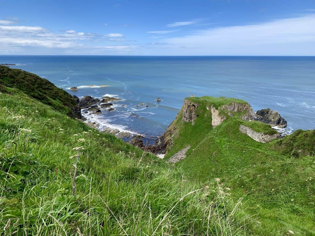Beautiful view of Findlater Castle, a ruin on the coast of Scotland
