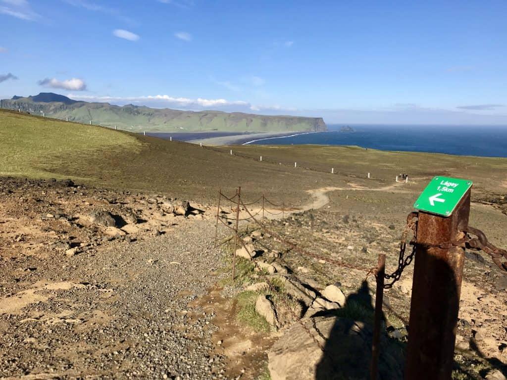 View of Reynisfjara from Dyrholaey Cliffs