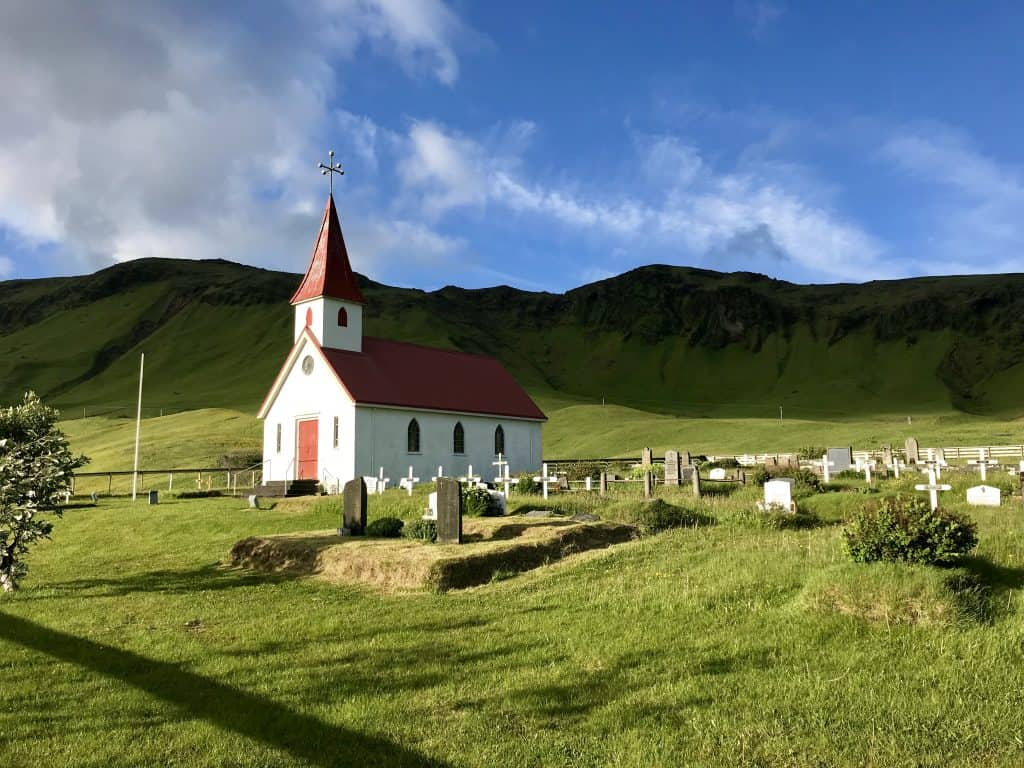 Vik i Myrdal, the town of Vik's church