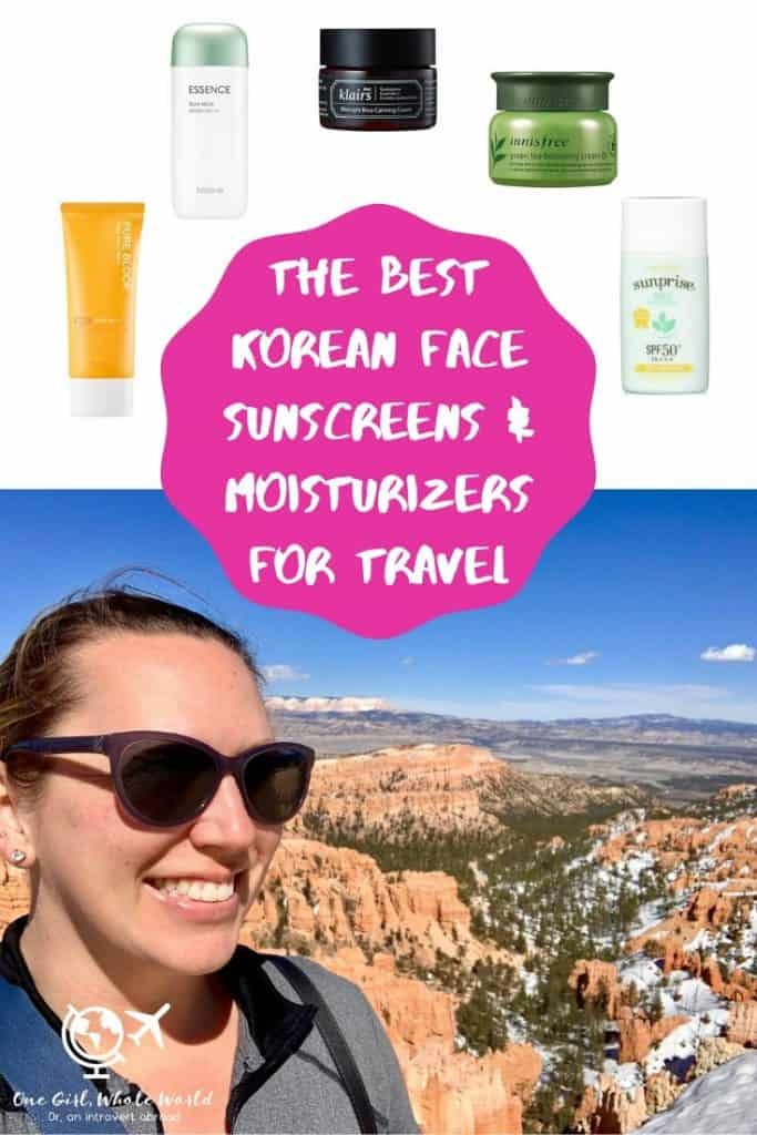 Best Korean sunscreens & Korean moisturizers for travel - Pinterest image