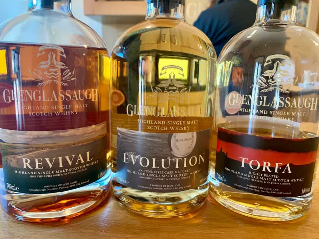 Tasting 3 Glenglassaugh expressions while visiting scotch distilleries