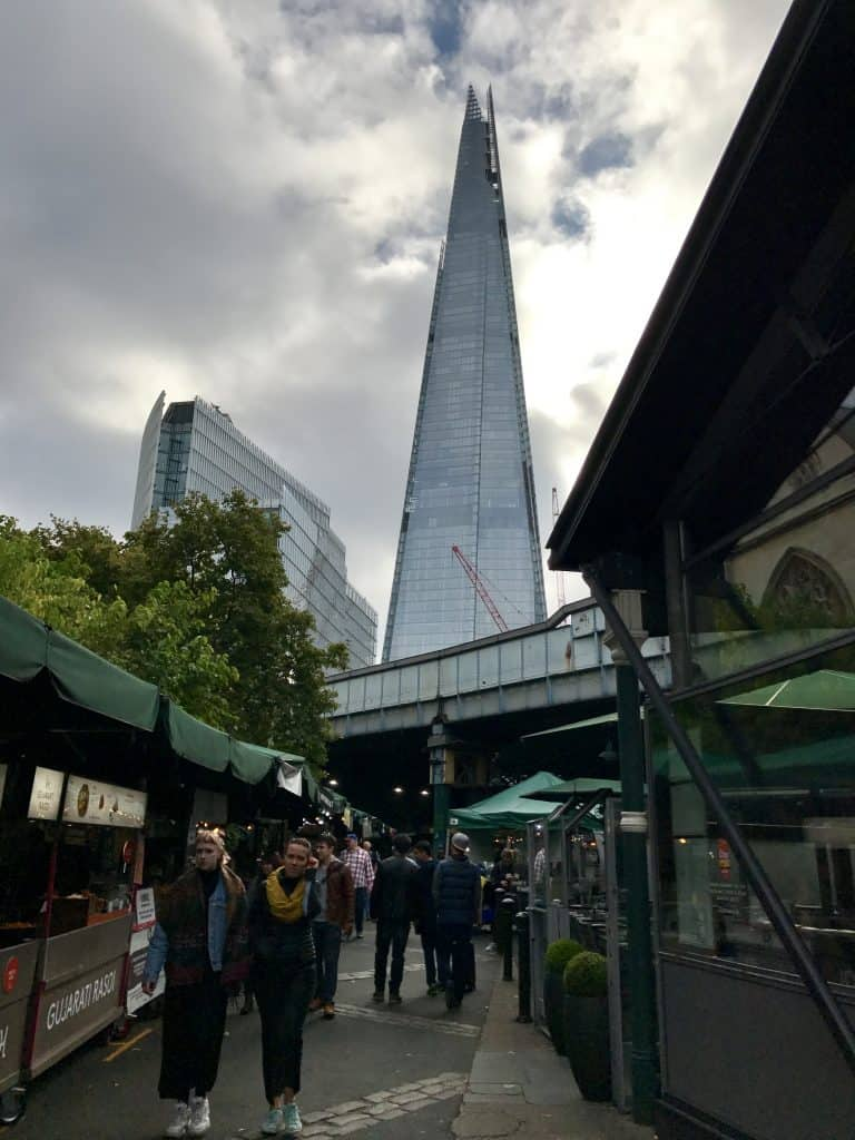 A view of London's Shard heading into Borough Market
