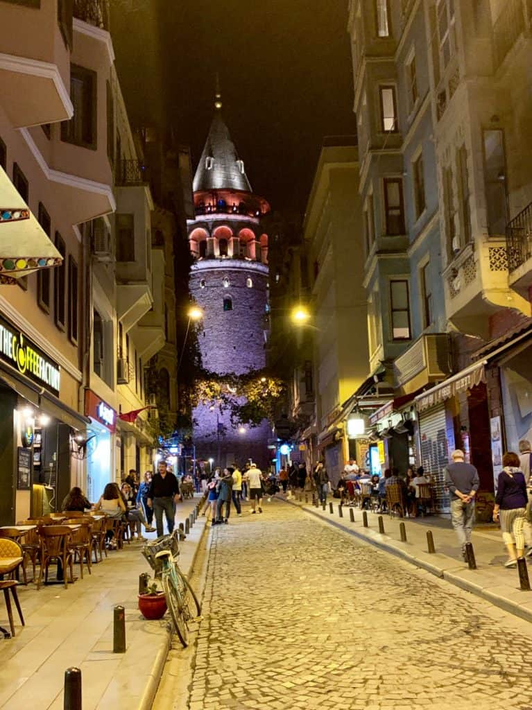 galata tower at night - exploring the best coffee shops of istanbul