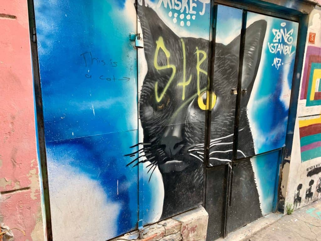 the street art in beyoglu - best coffee shops in Istanbul