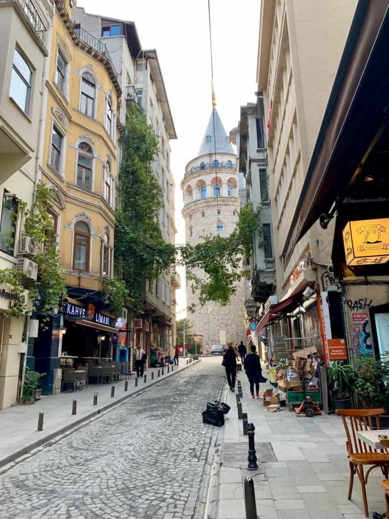 A view of Galata tower while looking for the best coffee shops in Istanbul
