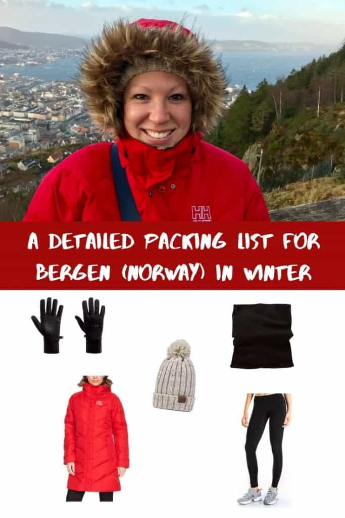 Packing list for Bergen Norway in winter - Pinterest image