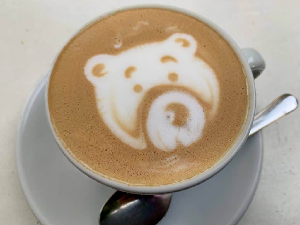 Adorable bear in cappuccino foam at Vannelli Pasticceria in Camucia, Italy
