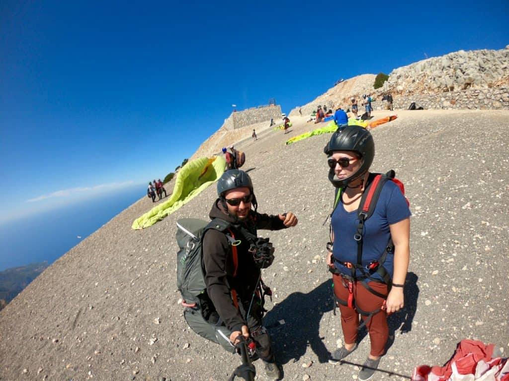 Getting ready to take off Mount Babadag, paragliding in Turkey