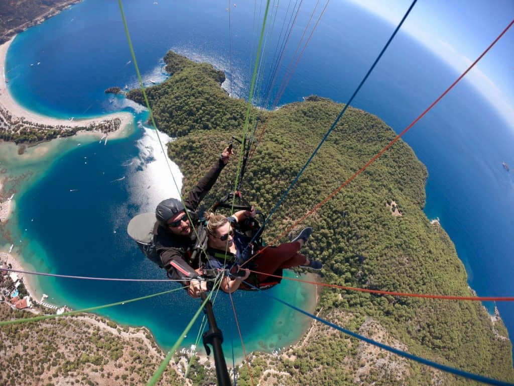 The amazing Blue Lagoon below while paragliding in Turkey