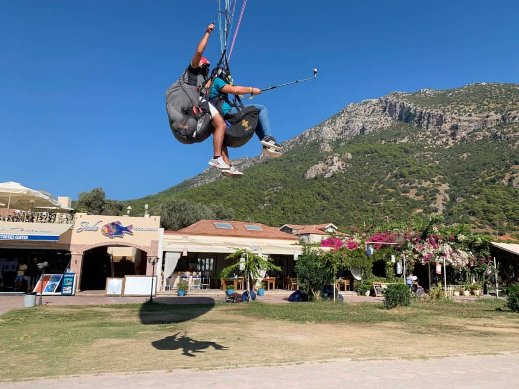 Watching the Oludeniz paragliders come in along the beach