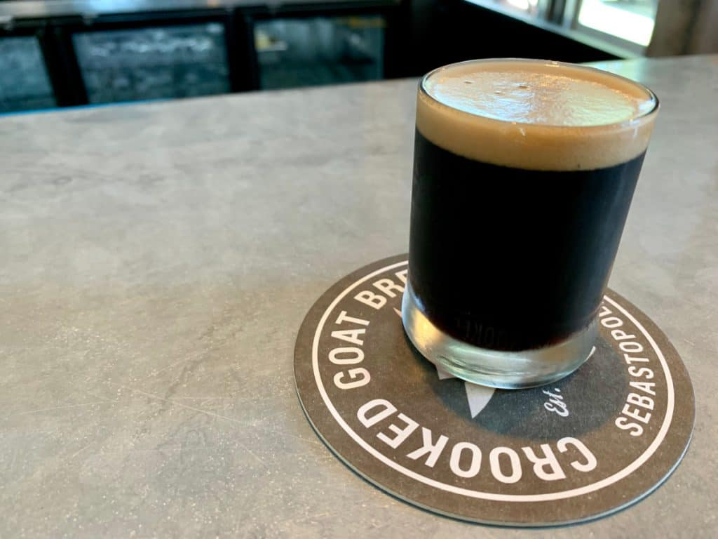 Delicious vanilla bean stout at Crooked Goat Brewing - where to drink in Sonoma County