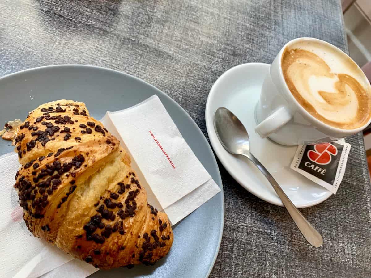 Morning cappuccino and cornetto in Cortona