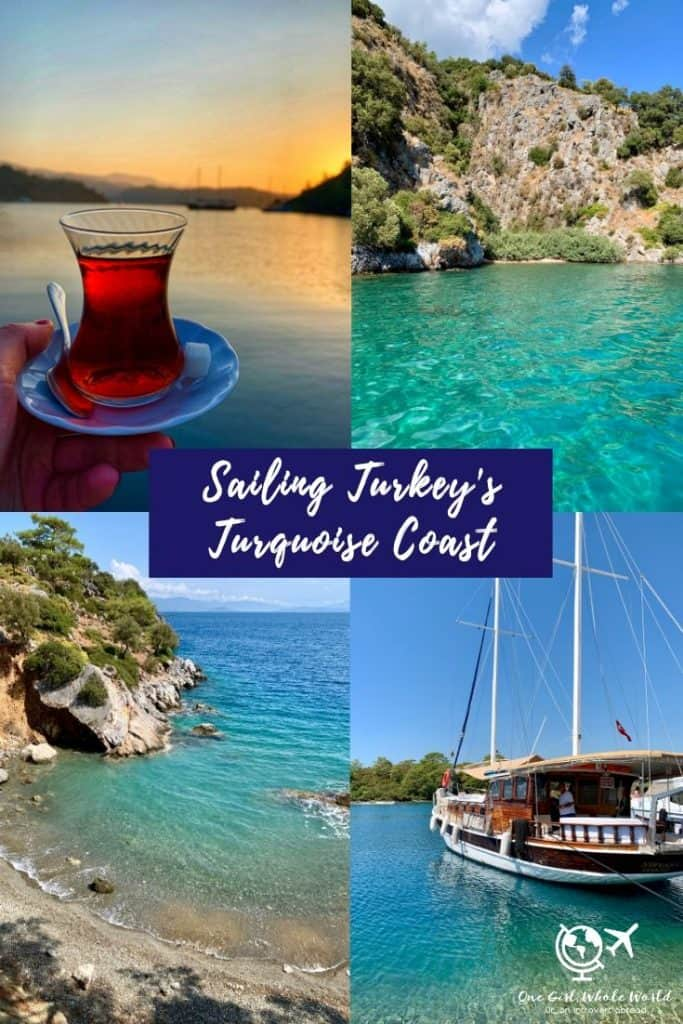 Sailing Turkey's Gorgeous Turquoise Coast | Why a 2-day boat trip in Turkey should be on your bucket list. Sailing in Turkey is a once-in-a-lifetime experience, and should be on any boat lover's itinerary. Short boat trips in Turkey, exploring the Gocek Islands, Lycian ruins, turquoise waters, private beaches & more!