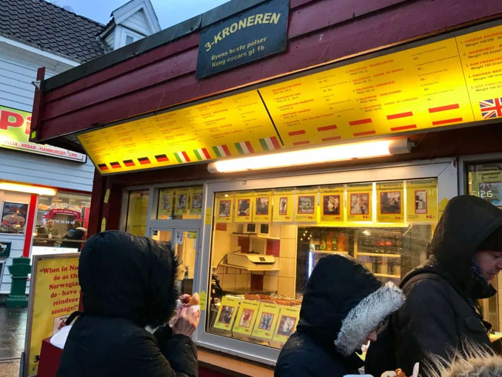Trekroneren sausage stand is a must in Bergen!