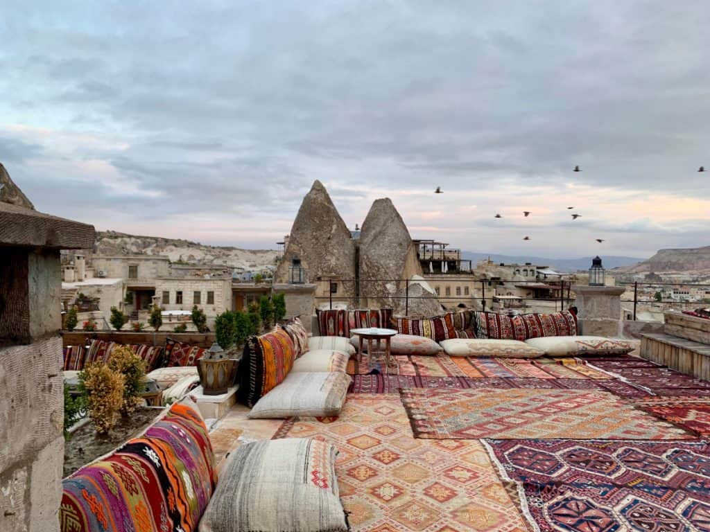 The view from Mithra Cave Hotel's rooftop patio in Goreme