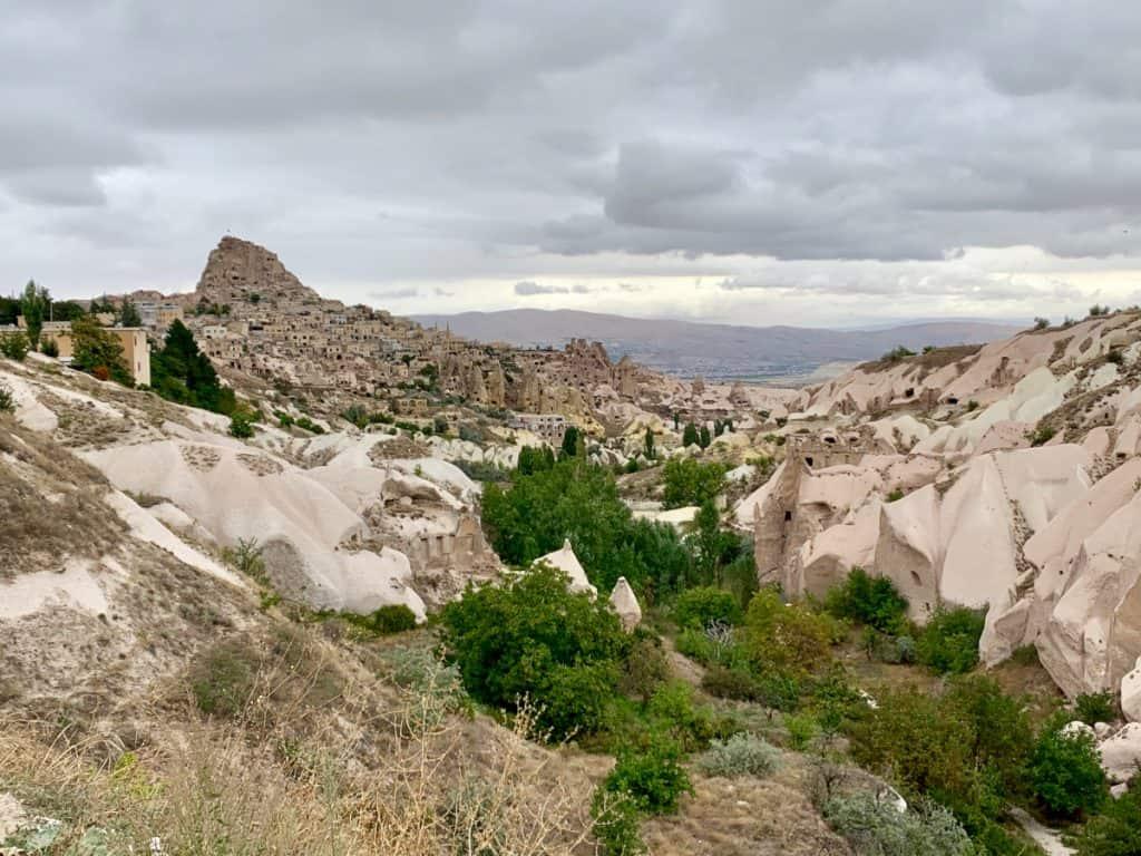 Pigeon Valley looking toward Uchisar Castle in Cappadocia