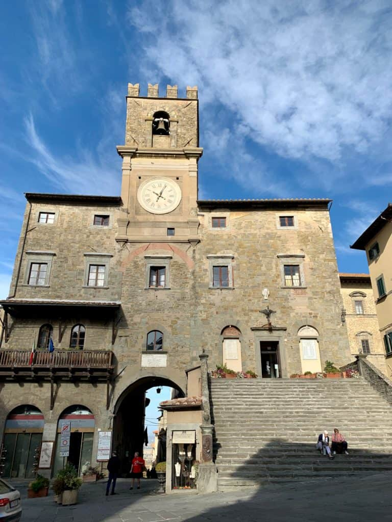 The historic Palazzo Communale, in Cortona, Italy