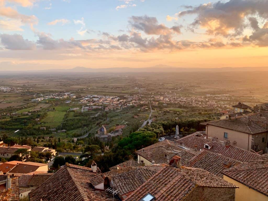Amazing sunset views from my apartment in Cortona, Italy