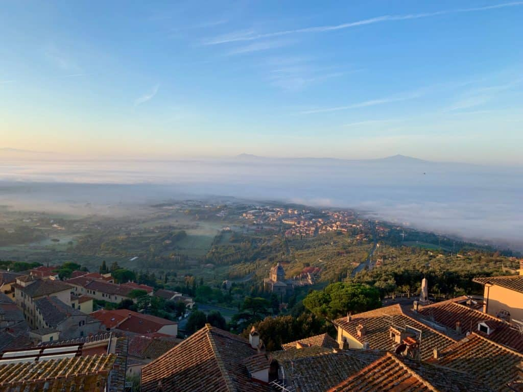 Foggy morning over the valley, from Cortona