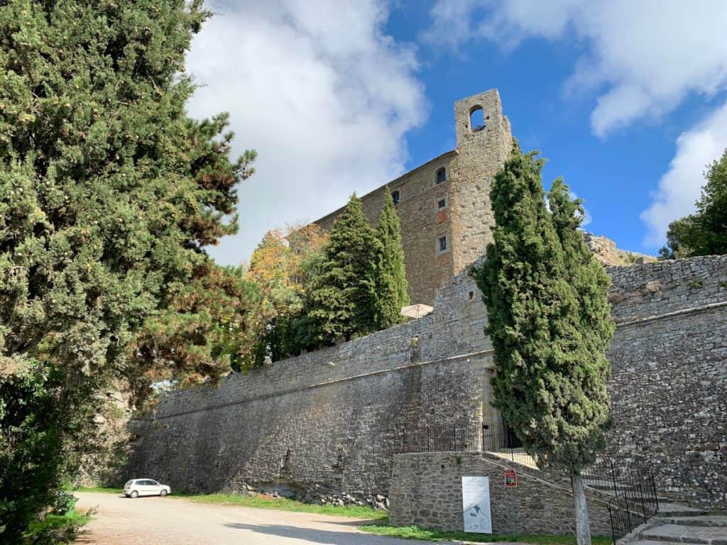 The oddly-shaped Fortress Girifalco, high above Cortona, Italy
