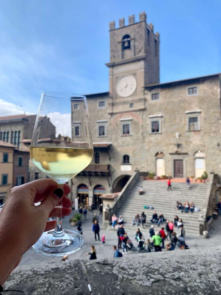 A glass of wine with a view in Cortona!