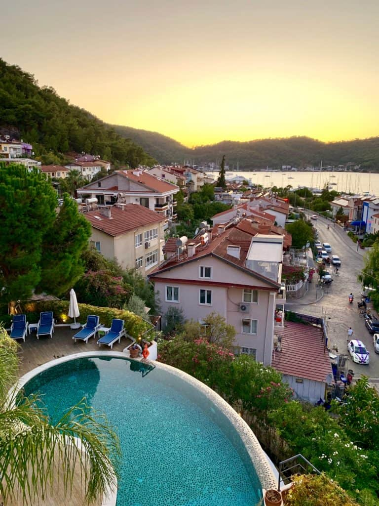 A beautiful sunset from my hotel balcony in Fethiye