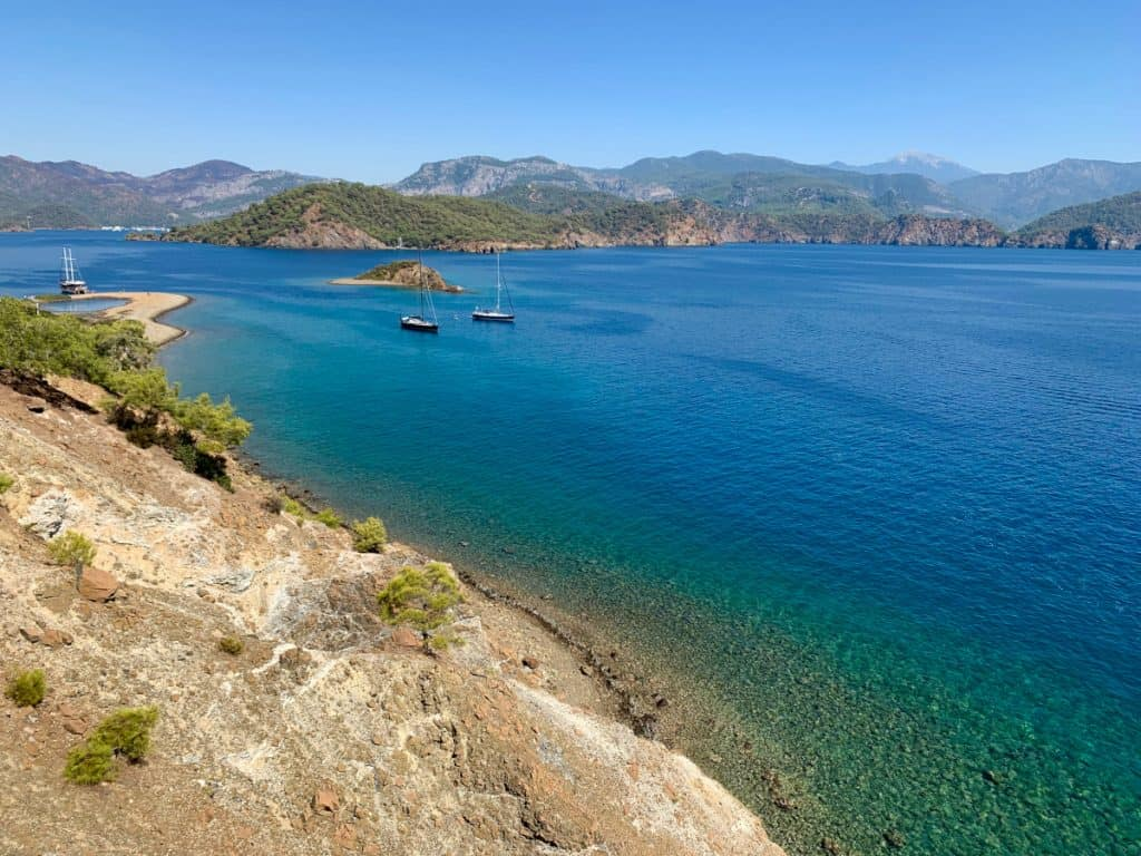 Gorgeous views above Paradise Island, in the Gocek Islands - sailing in Turkey