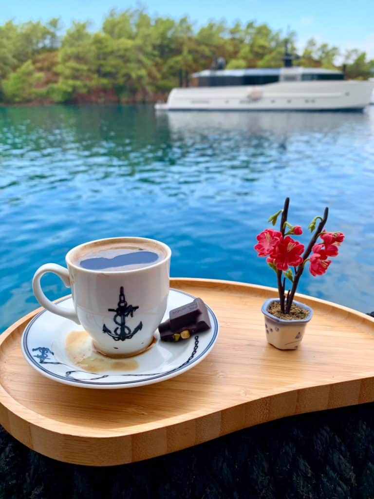 Turkish tea and a treat while sailing in Turkey