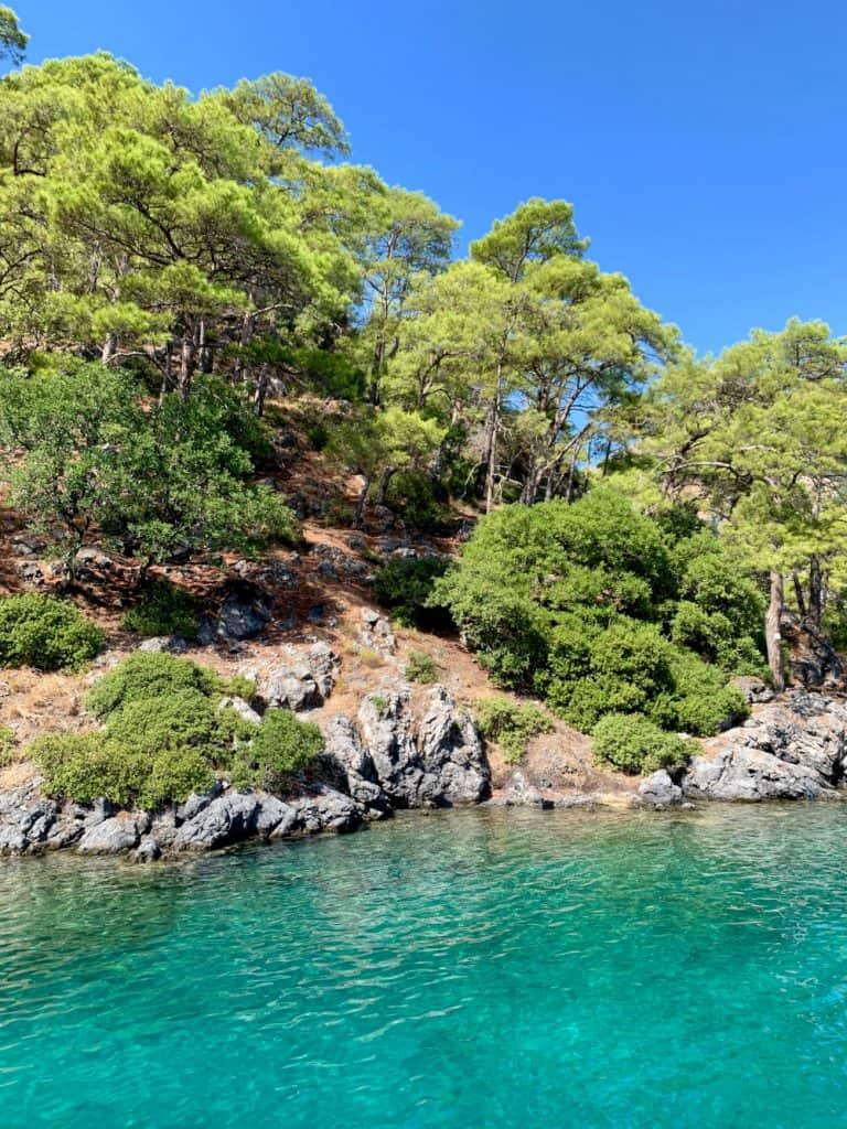 Gorgeous turquoise water around Gocek's islands