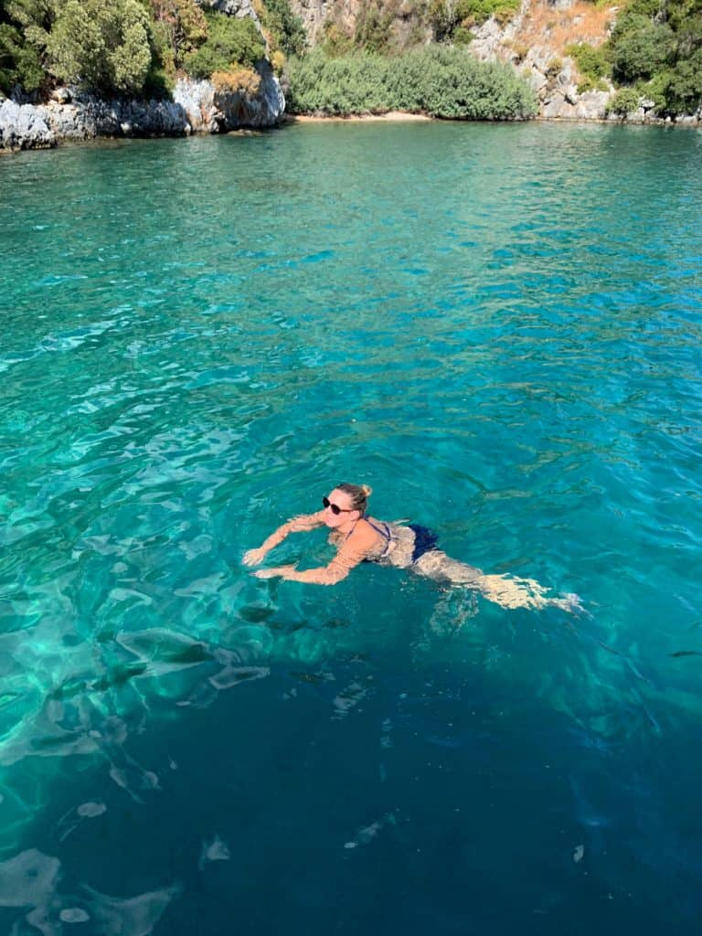 Swimming in the waters of the Turquoise Coast