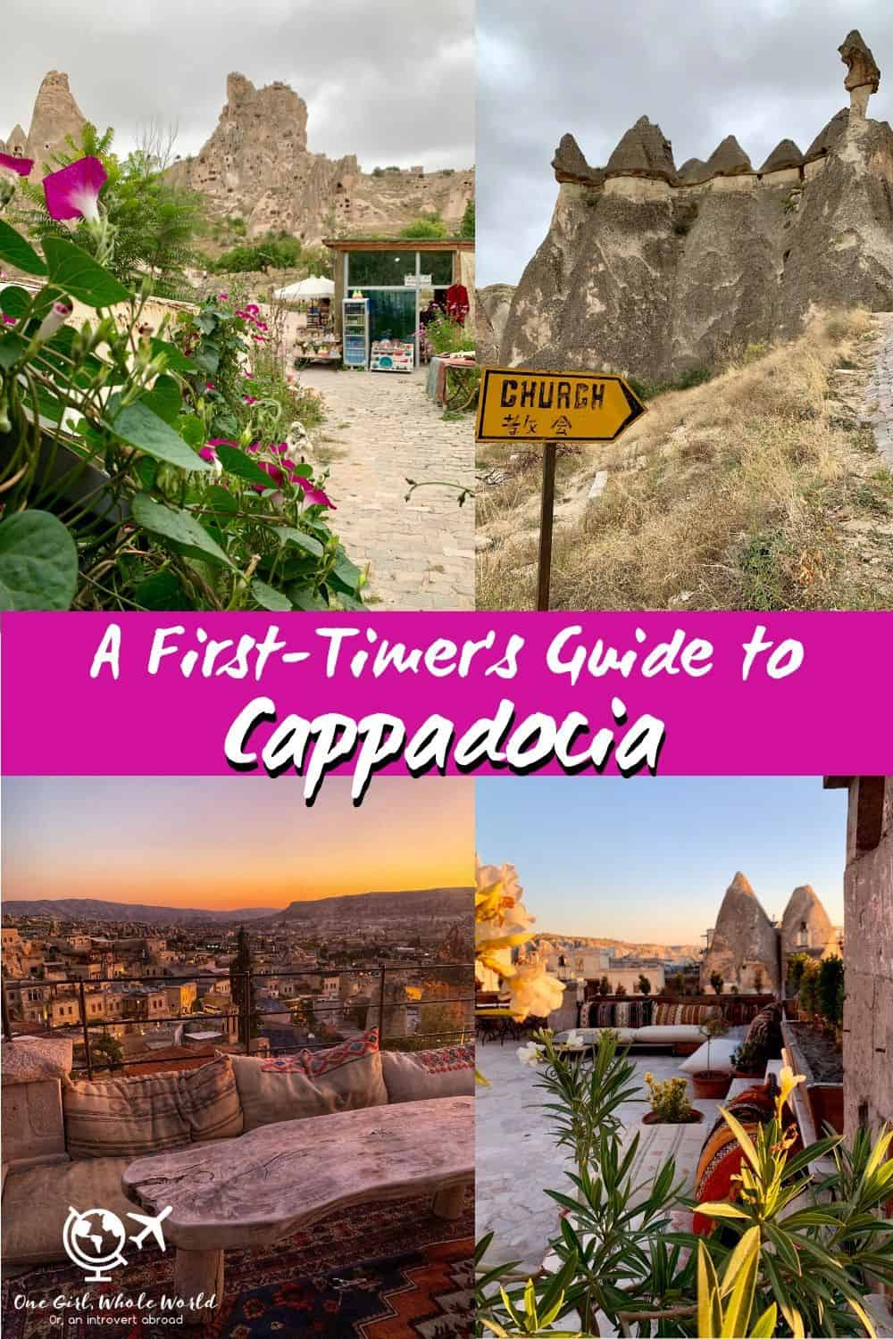Cappadocia, Turkey: A First-Timer's Guide | Visiting the area of Cappadocia was a major bucket list trip, and it didn't disappoint! I've put together a detailed guide on how to get there, what to see, how to get around, where to stay, and more! Visiting Goreme, Uchisar, Pasabag Valley, Zelve, and more, all the fairy chimneys, gorgeous sunrises, and history you can take! What to do in Cappadocia, trip planning tips. #cappadocia #turkey #bucketlist #solotravel
