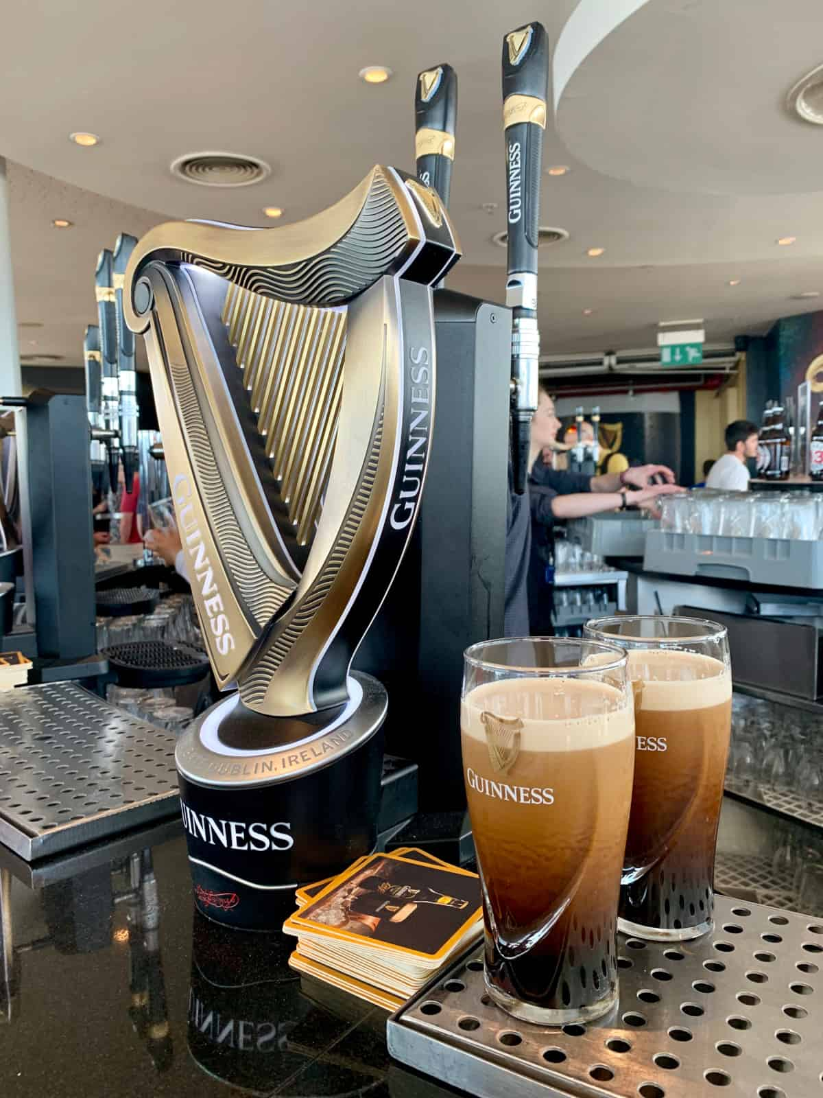 Getting my free pint at Guinness Storehouse...after the self-tour!