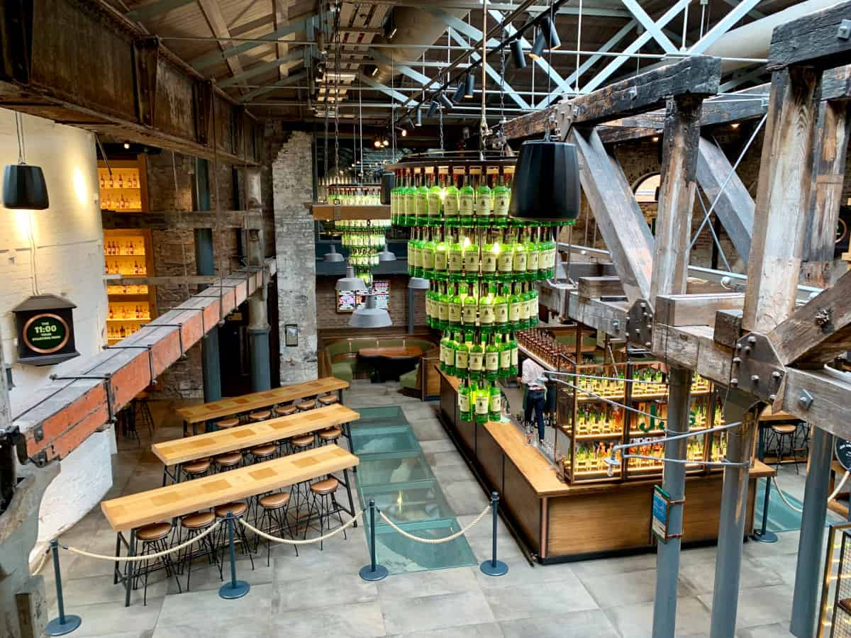 An overhead view of JJ's, the bar at Jameson Distillery