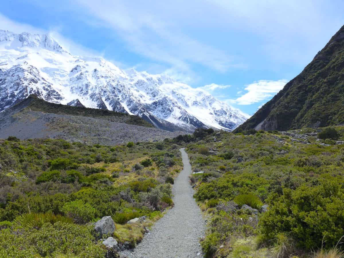 Perfect day for hiking the Hooker Valley Track - a two-week New Zealand itinerary
