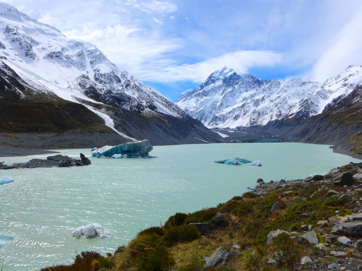 Gorgeous glacier lake at the end of the Hooker Valley Track - two-week New Zealand itinerary
