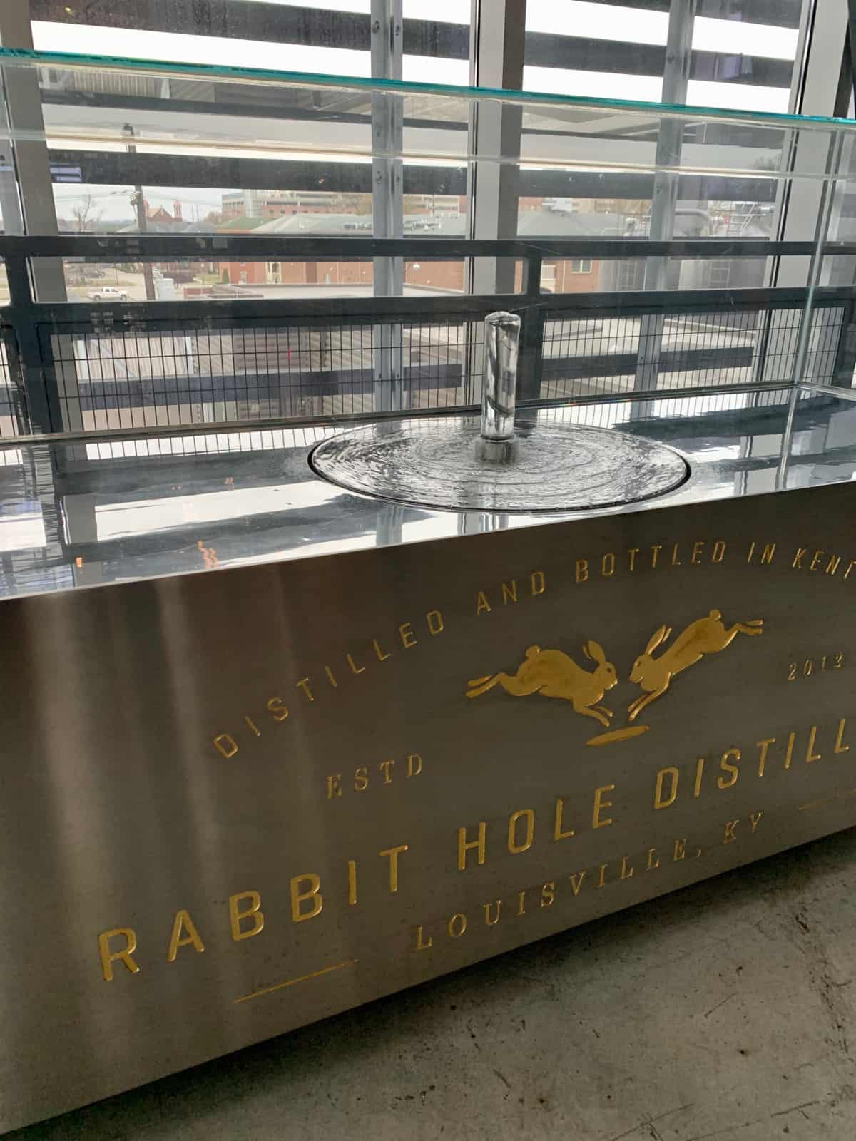 The beautiful spirit safe at Rabbit Hole Distillery