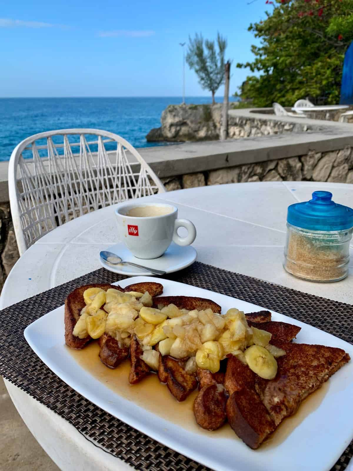 Cappuccino and french toast at LTU Pub in Negril