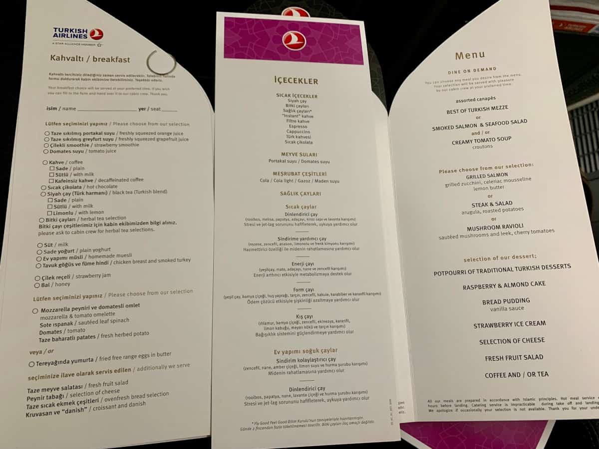 Thorough menus on Turkish Airlines business class