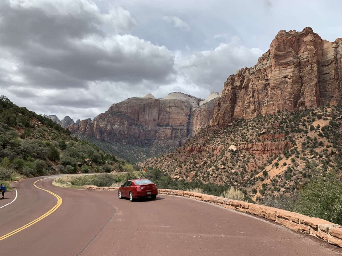 Driving through the eastern side of Zion National Park