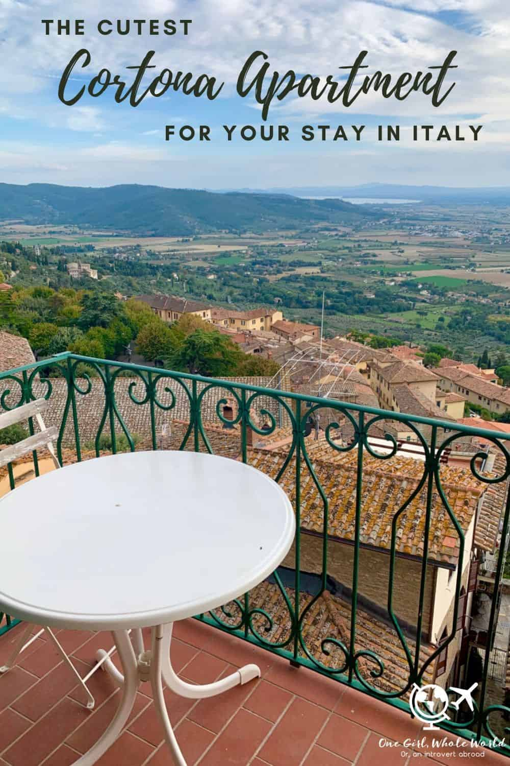 The Cutest Cortona Apartment to Rent | This is the perfect Airbnb for your stay in Cortona, Italy...amazing views, so charming, perfect for a short stay or weeks in Cortona! If you're wondering where to stay in Cortona or which Tuscan hill town to visit, I've got your back. #cortona #italy #airbnb