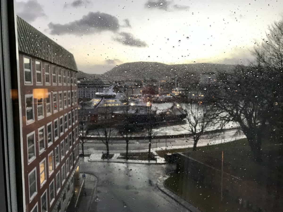 A view at my room at the Thon Orion Hotel in Bergen