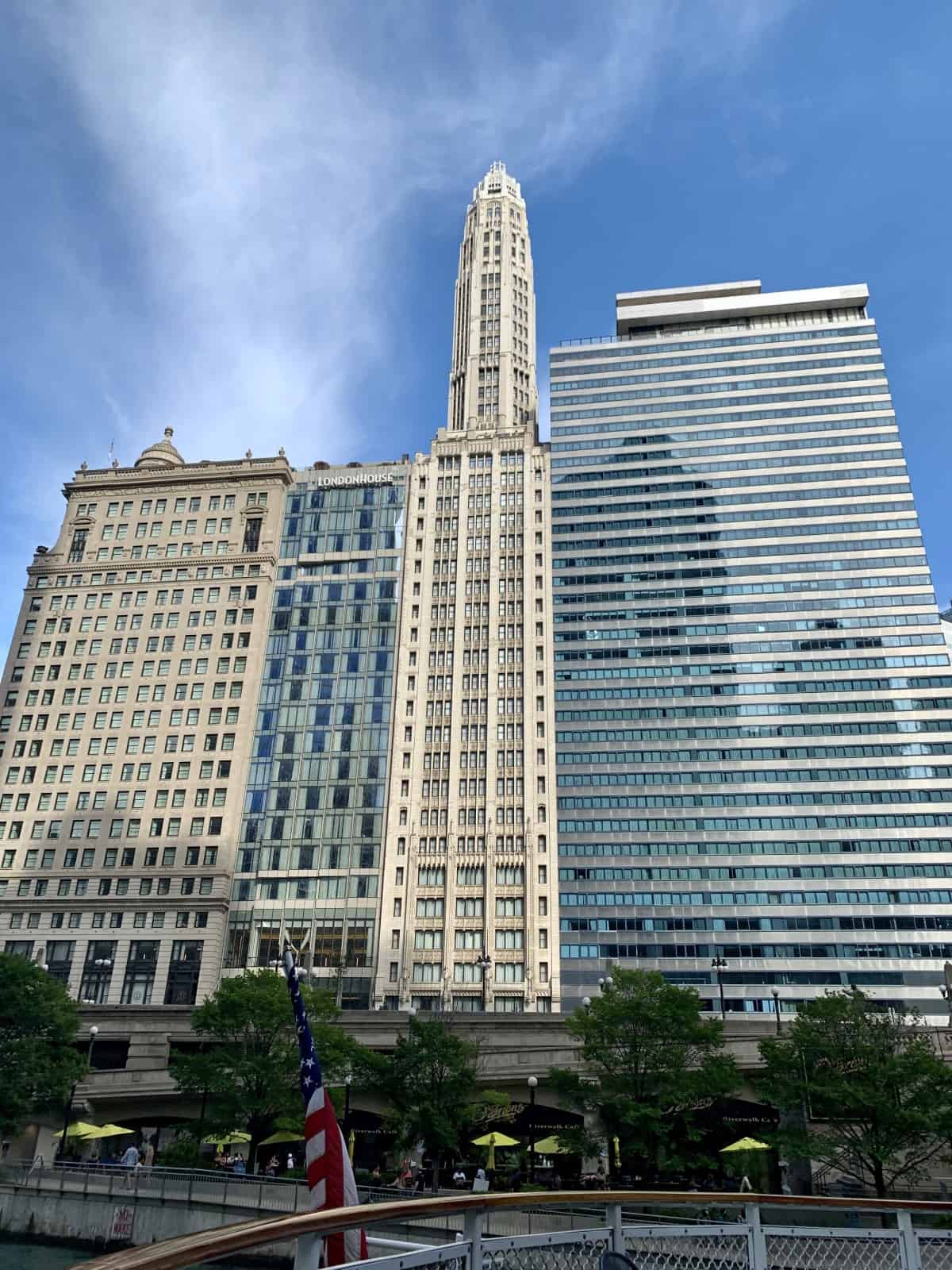 Multiple architectural styles side by side - Chicago Architecture Foundation River Cruise