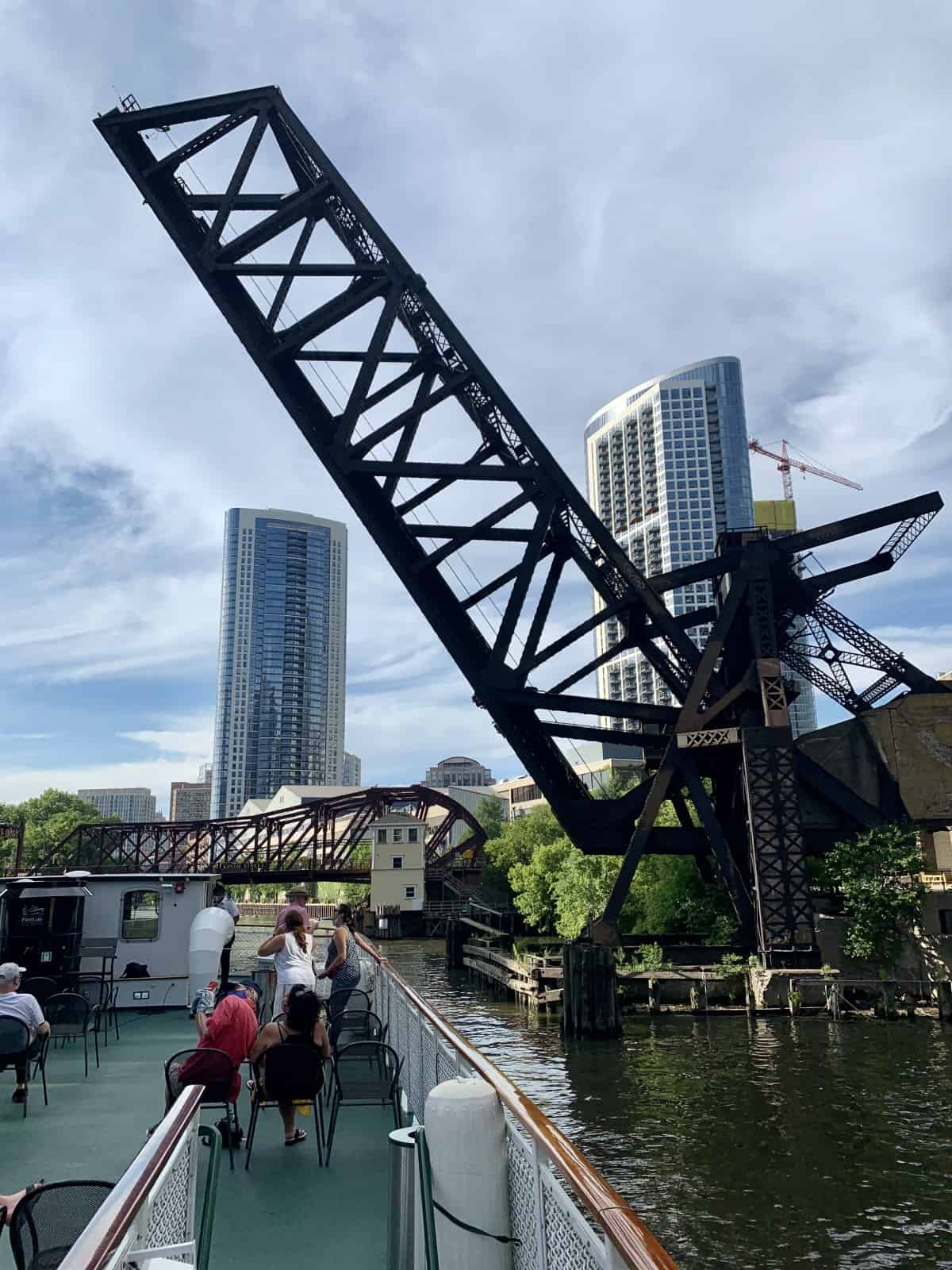 A now-defunct railroad bridge you'll see on the Chicago architecture boat tour