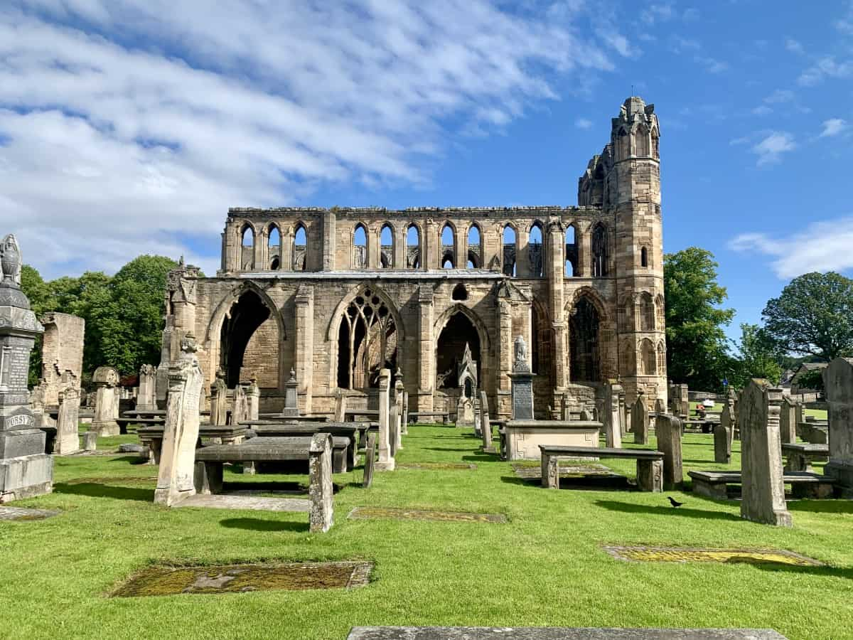 The giant, historic ruins of Elgin Cathedral, Moray area Scotland